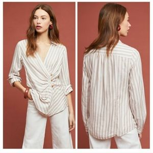 Anthropologie Maeve Striped Wrap Button Blouse 12